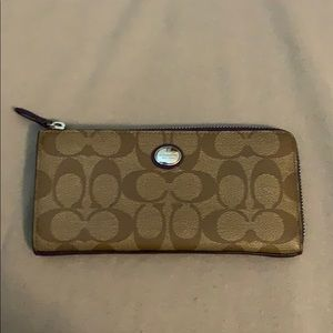 coach leather zip up wallet